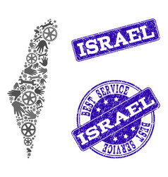 best service collage of map of israel and vector image