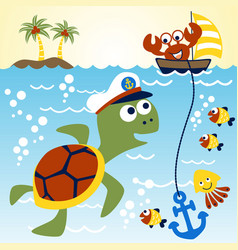 Big turtle skipper under sea with his vector