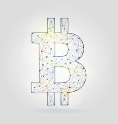 Bitcoin sign icon wireframe mesh on gray vector