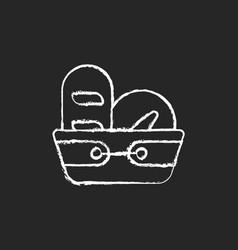 Bread basket chalk white icon on dark background vector