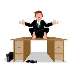 Business yoga Businessman meditating on table vector image