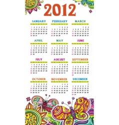 calendar butterfly 2012 vector image
