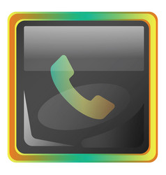 call grey square icon with yellow and green vector image