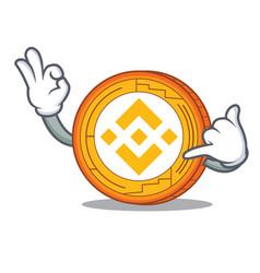 Call me binance coin mascot catoon vector