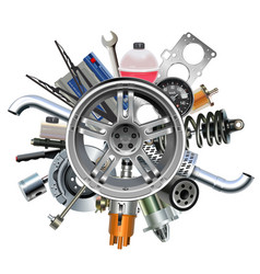 car parts with wheel disk vector image