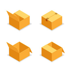 cardboard package boxes isometric open empty pack vector image