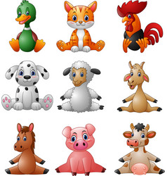 Cartoon farm animal collection set vector