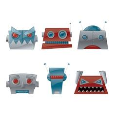 cartoon robot heads vector image