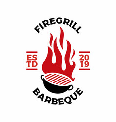 Charcoal grill fire flame logo icon vector