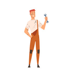 Cheerful male worker with ppe wrench in his hand vector