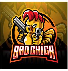 Chick with gun mascot logo design vector