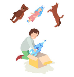 Child girl or boy opens the gift box toy rocket vector
