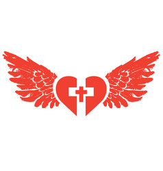 christian cross inside red heart with wings vector image