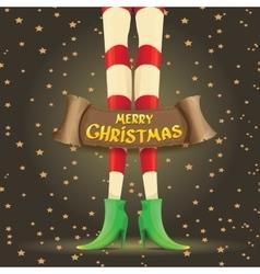 Christmas cartoon card with elf girls legs vector