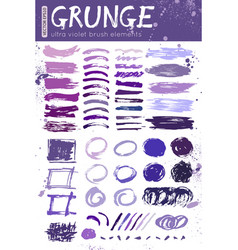 collection grunge brush strokes with a vector image