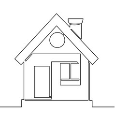 Continuous one line drawing logo design house vector