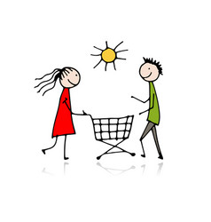 couple with shopping trolley sketch for your vector image