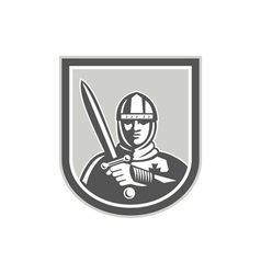 Crusader Knight With Sword Front Crest vector image