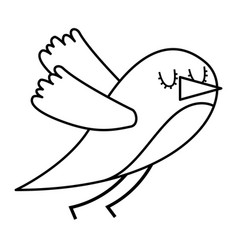 cute cartoon bird animal beauty vector image