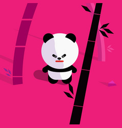 cute cartoon panda in bamboo forest vector image