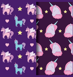 cute unicorn of fairy tale patterns vector image