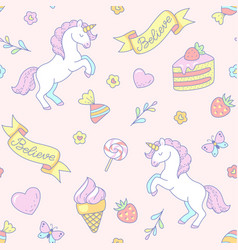 Cute unicorns pattern vector