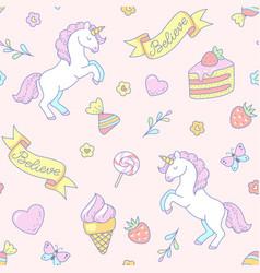 cute unicorns pattern vector image