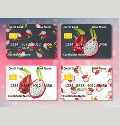design for credit card with pitahaya vector image