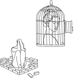 desperate woman holding an iron pole in a cage vector image