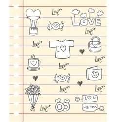 Doodle of love paper backgrounds vector image