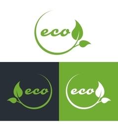 eco or bio friendly company logo green leaves vector image