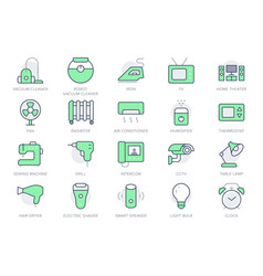 electronic appliance simple line icons vector image