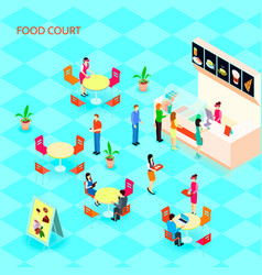 Fast food isometric icon set vector