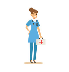 female emergency service doctor wearing medical vector image