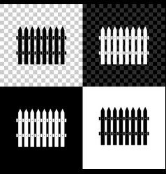 fence wooden icon isolated on black white and vector image