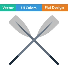 Flat design icon of boat oars vector image