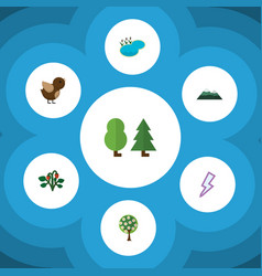 Flat icon natural set of berry lightning forest vector