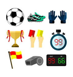 football soccer related objects sport set vector image