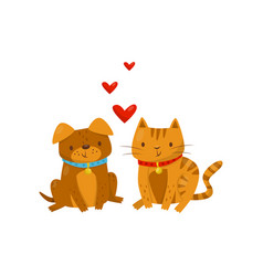 funny dog and cat in love cute domestic pet vector image