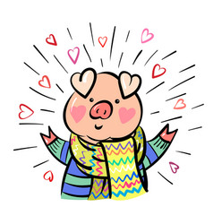 funny happy pig dressed up in scarf comic cartoon vector image