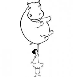 Girl holds hippopotamus vector