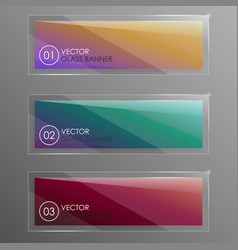 glass banners with abstract shape vector image
