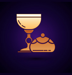 Gold jewish goblet and hanukkah sufganiyot icon vector