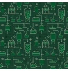 Green seamless background - beer brewing process vector