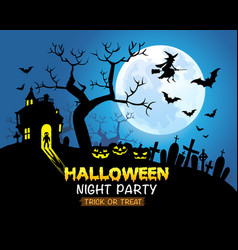 Halloween night party blue background vector