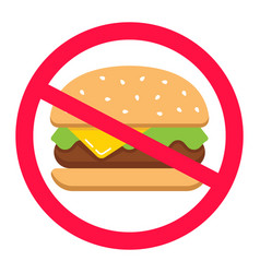 Hamburger in a crossed out circle junk food fast vector