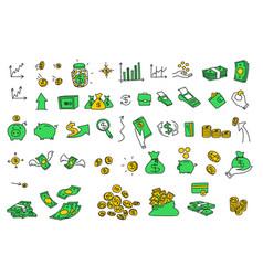 Hand drawn money coins bills vector