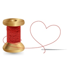 Heart With A Needle Thread and Reel Design vector image
