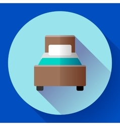 Hotel single room Bed icon flat style vector