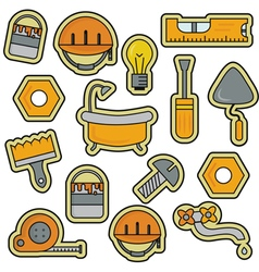 House Repair Renovation Line Art Thin Icons vector image